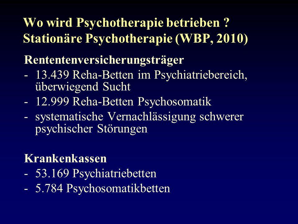 Wo wird Psychotherapie betrieben Stationäre Psychotherapie (WBP, 2010)