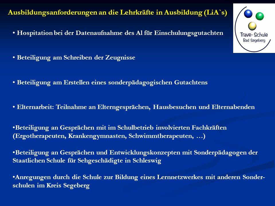 Ausbildungsanforderungen an die Lehrkräfte in Ausbildung (LiA`s)