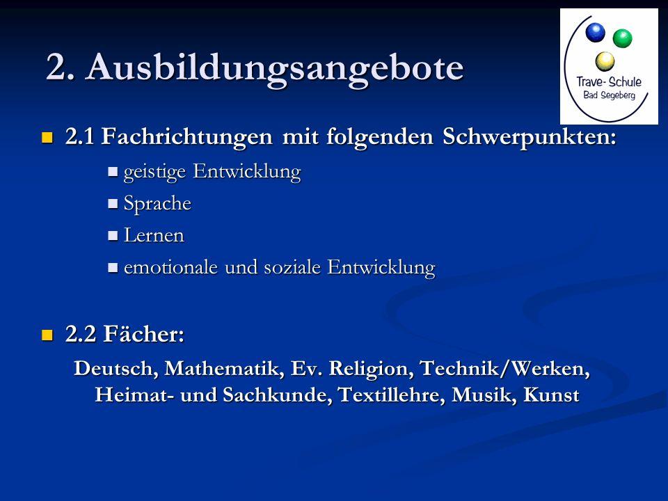 2. Ausbildungsangebote 2.1 Fachrichtungen mit folgenden Schwerpunkten: