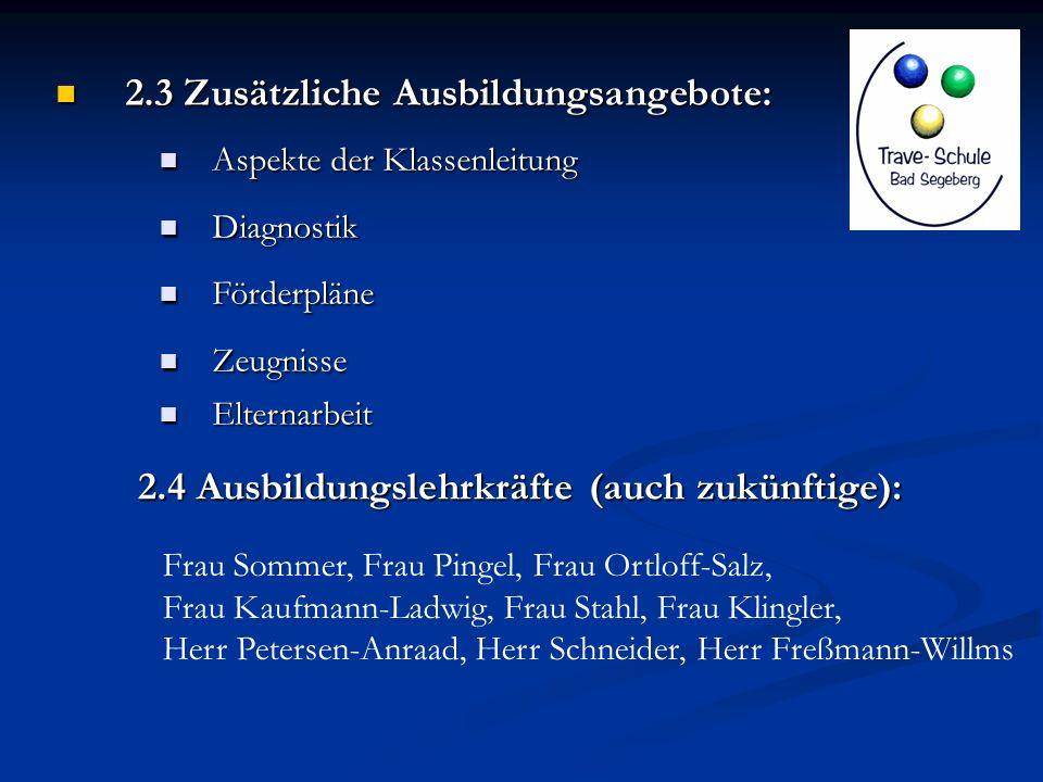 2.3 Zusätzliche Ausbildungsangebote: