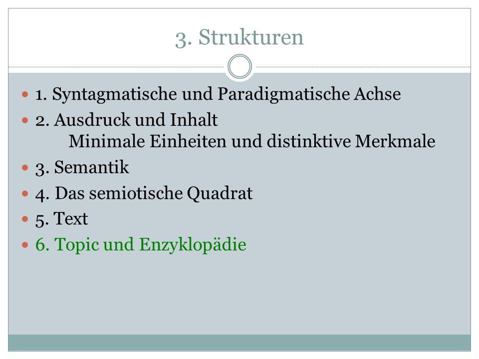 3. Strukturen 1. Syntagmatische und Paradigmatische Achse