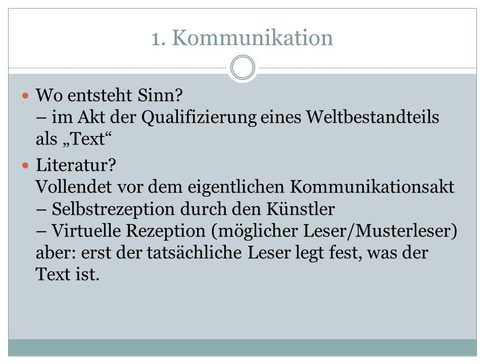 """1. Kommunikation Wo entsteht Sinn – im Akt der Qualifizierung eines Weltbestandteils als """"Text"""