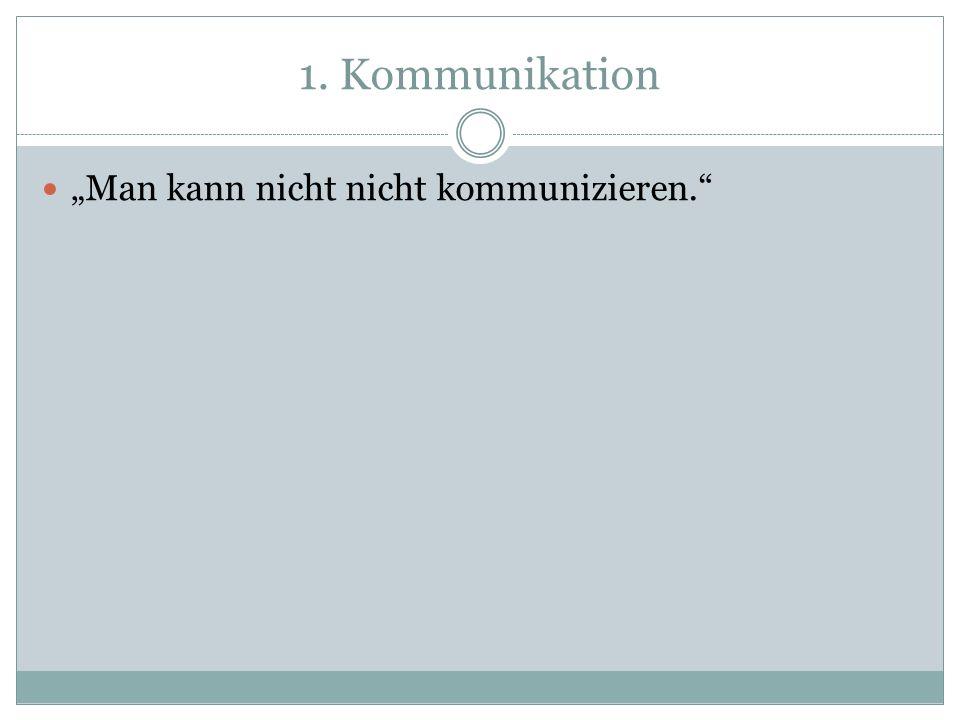 """1. Kommunikation """"Man kann nicht nicht kommunizieren."""