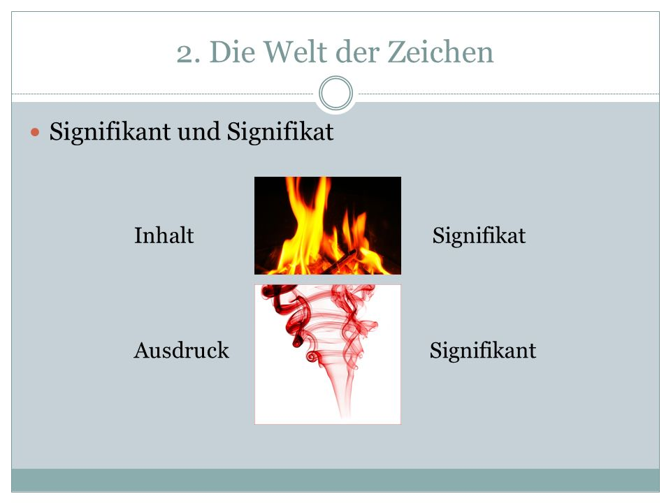 2. Die Welt der Zeichen Signifikant und Signifikat Inhalt Signifikat
