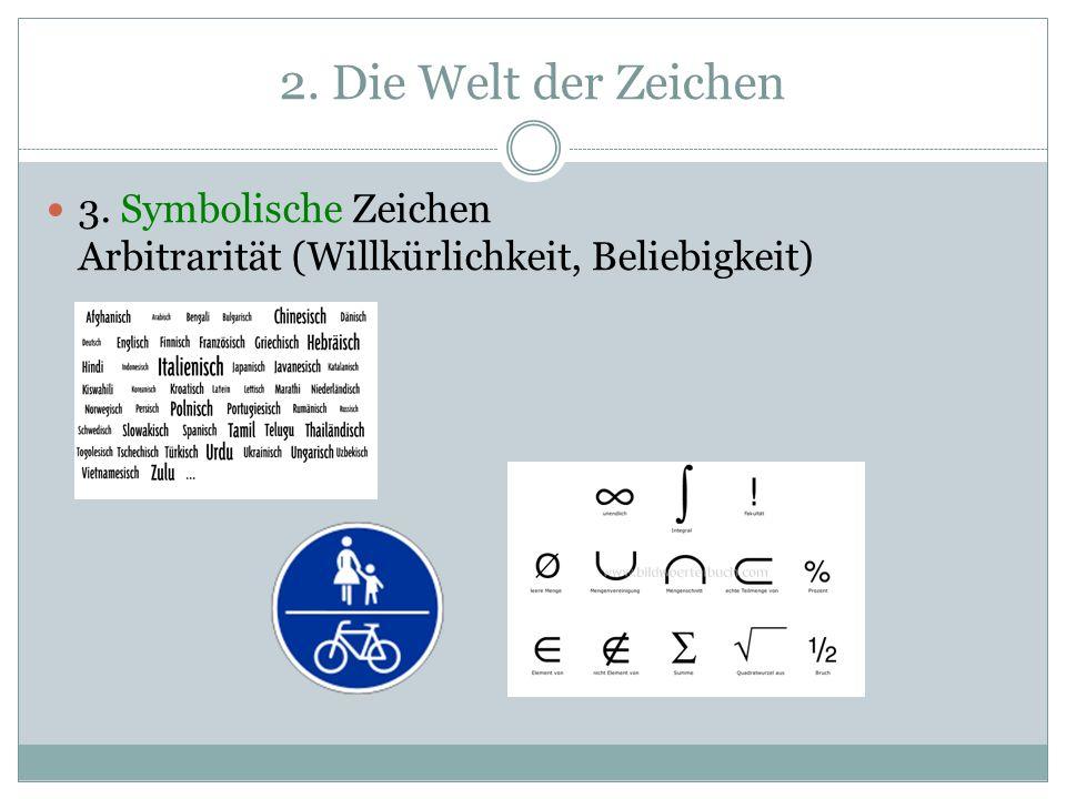 2. Die Welt der Zeichen 3. Symbolische Zeichen Arbitrarität (Willkürlichkeit, Beliebigkeit)