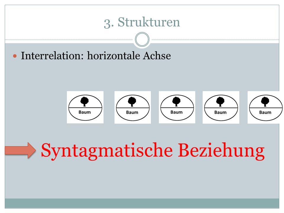 3. Strukturen Interrelation: horizontale Achse Syntagmatische Beziehung