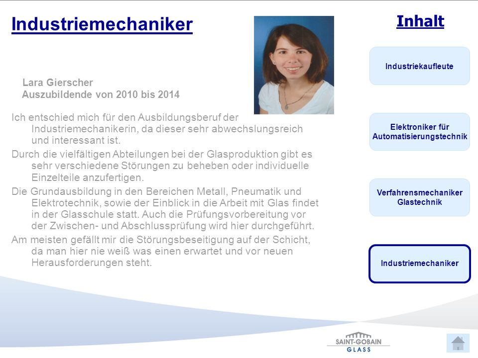 Industriemechaniker Lara Gierscher. Auszubildende von 2010 bis 2014.