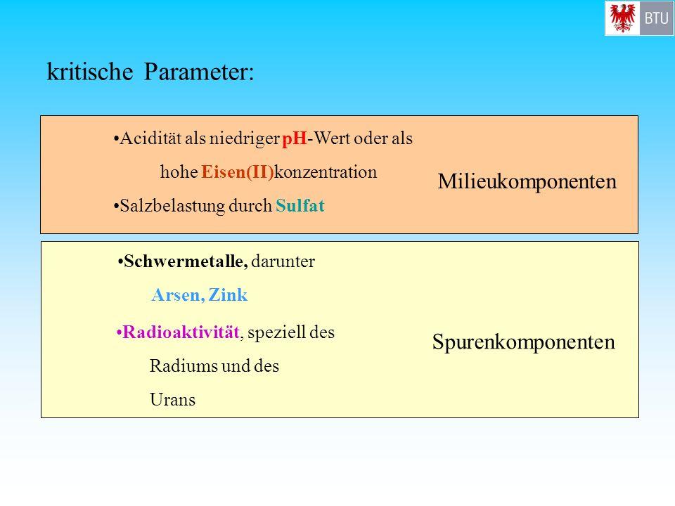 kritische Parameter: Milieukomponenten Spurenkomponenten