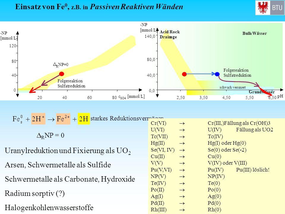 Einsatz von Fe0, z.B. in Passiven Reaktiven Wänden