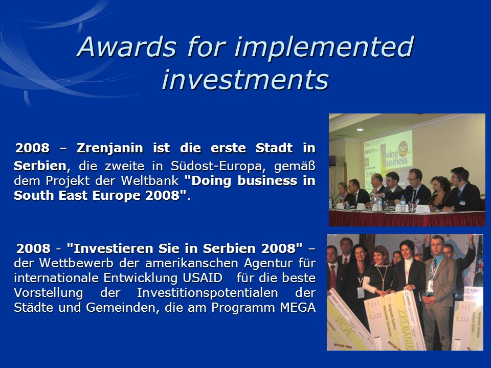 Awards for implemented investments