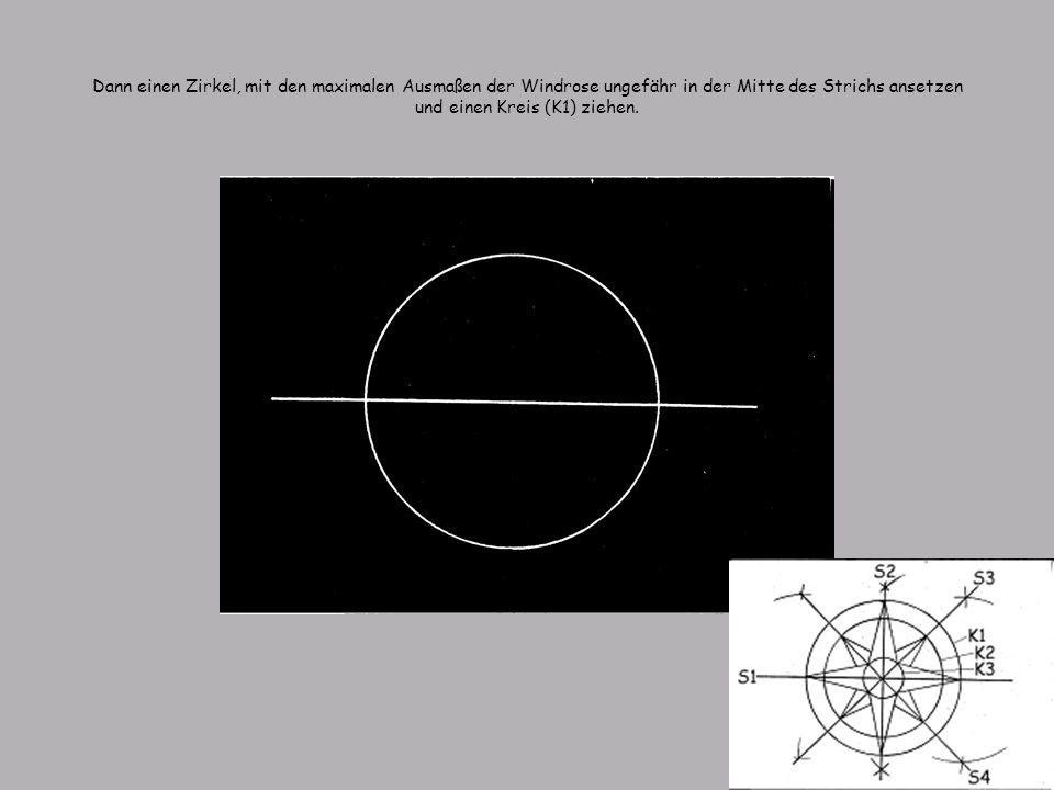 Dann einen Zirkel, mit den maximalen Ausmaßen der Windrose ungefähr in der Mitte des Strichs ansetzen und einen Kreis (K1) ziehen.