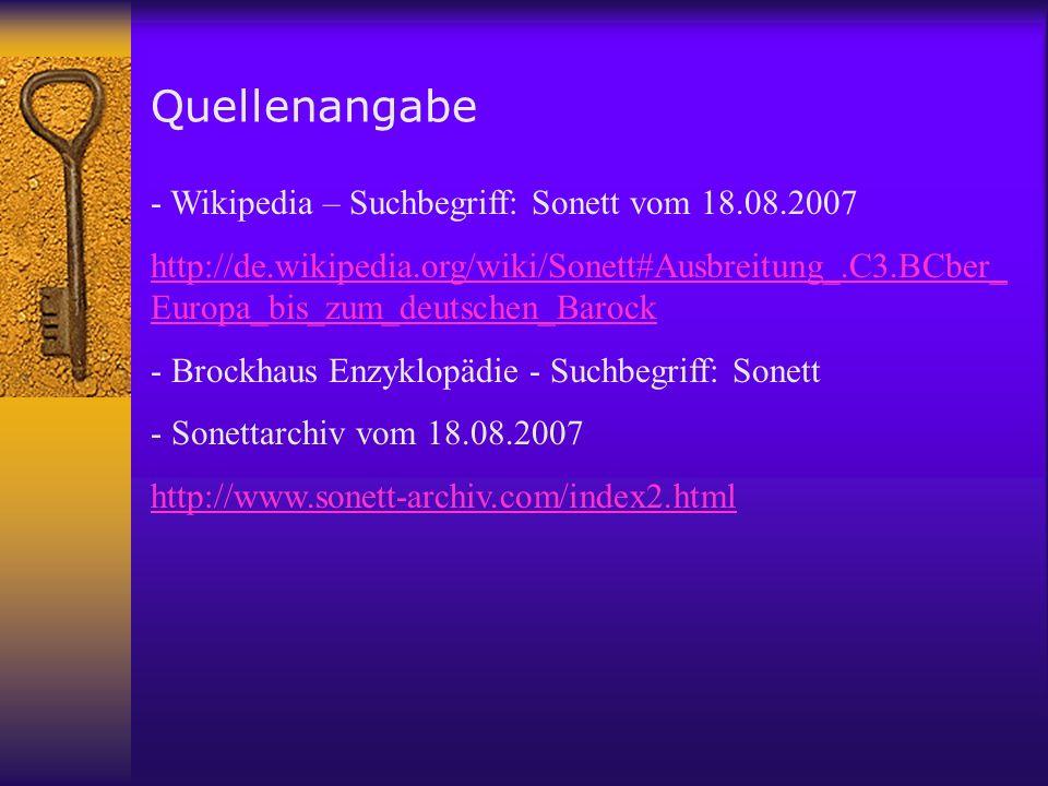 Quellenangabe - Wikipedia – Suchbegriff: Sonett vom 18.08.2007