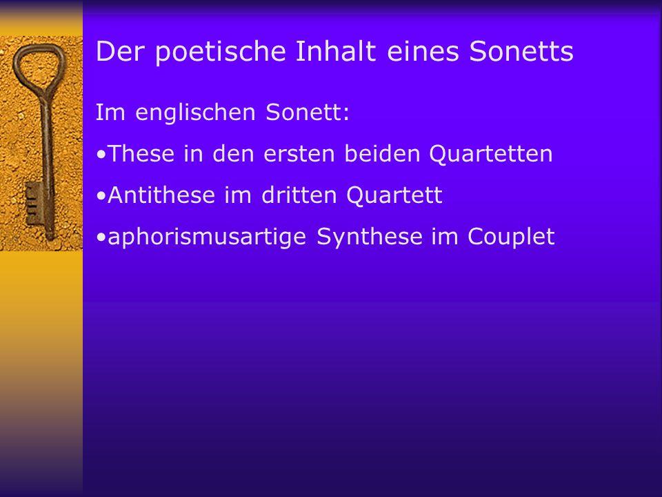 Der poetische Inhalt eines Sonetts