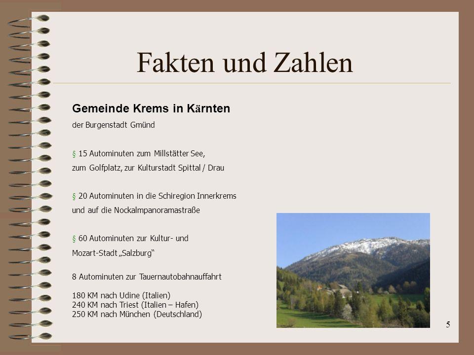 Fakten und Zahlen Gemeinde Krems in Kärnten der Burgenstadt Gmünd
