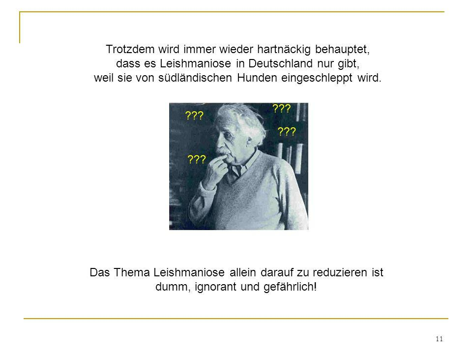 Trotzdem wird immer wieder hartnäckig behauptet, dass es Leishmaniose in Deutschland nur gibt, weil sie von südländischen Hunden eingeschleppt wird.
