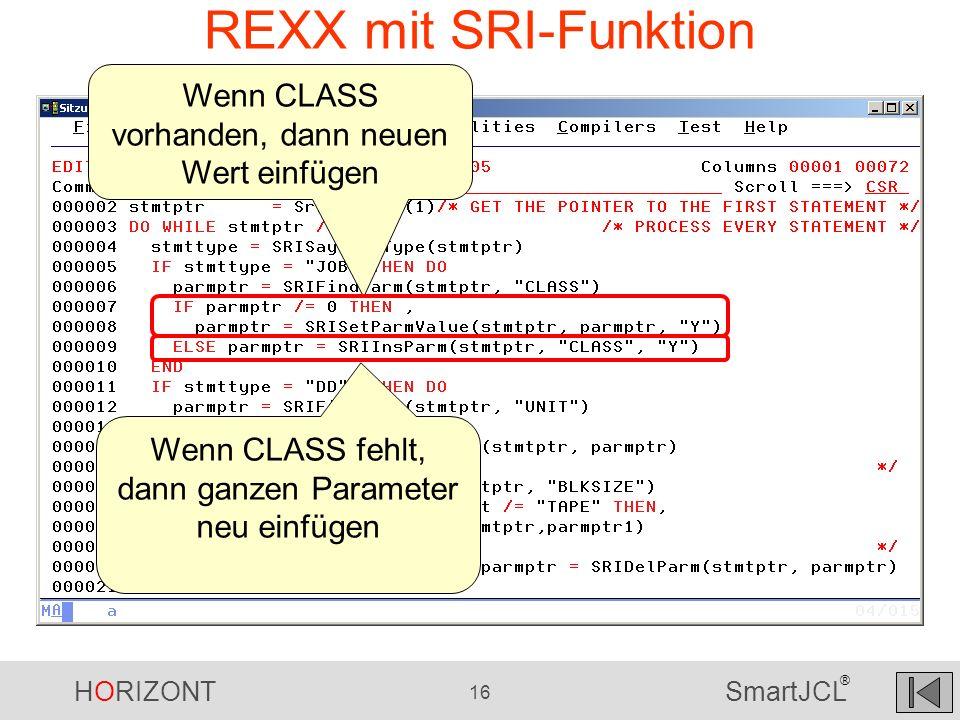 REXX mit SRI-Funktion Wenn CLASS vorhanden, dann neuen Wert einfügen