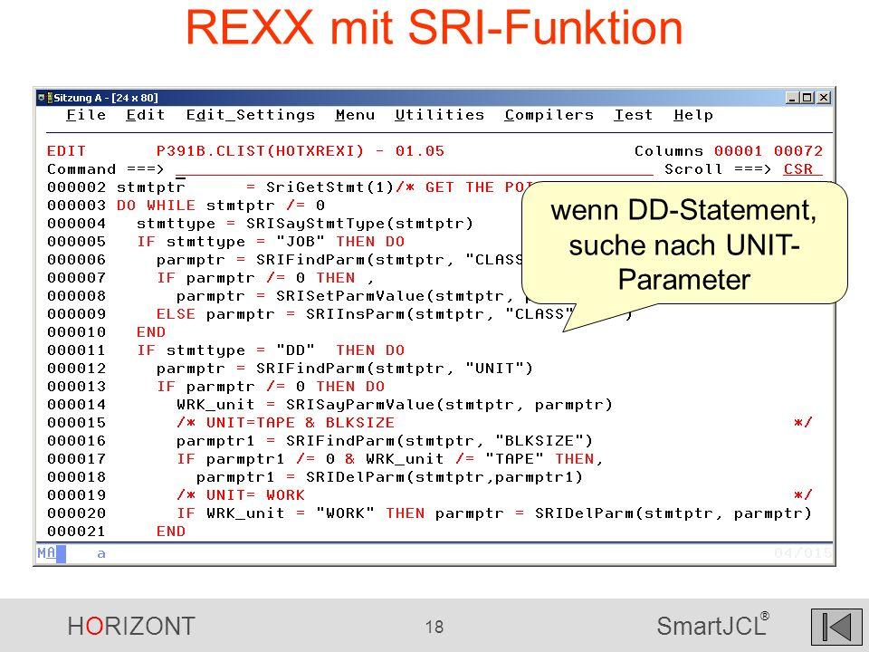 wenn DD-Statement, suche nach UNIT-Parameter