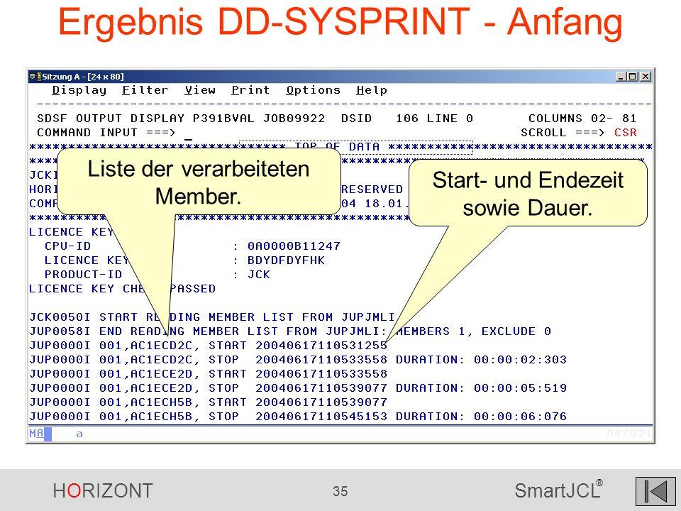 Ergebnis DD-SYSPRINT - Anfang