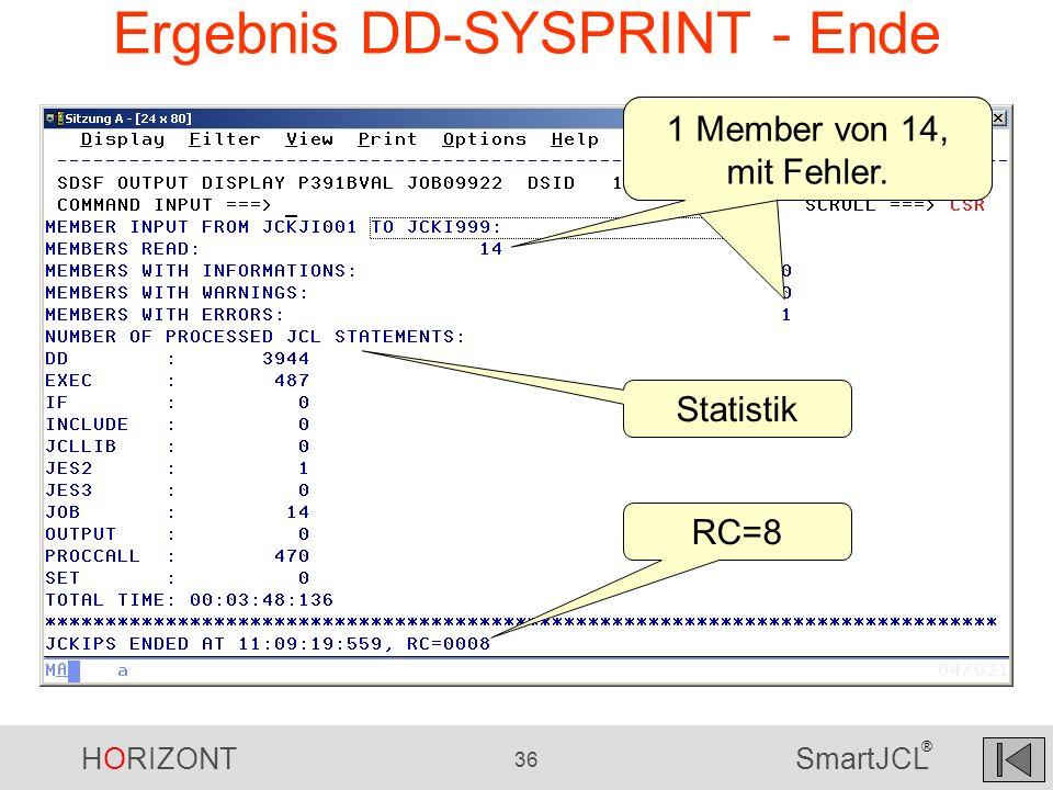 Ergebnis DD-SYSPRINT - Ende