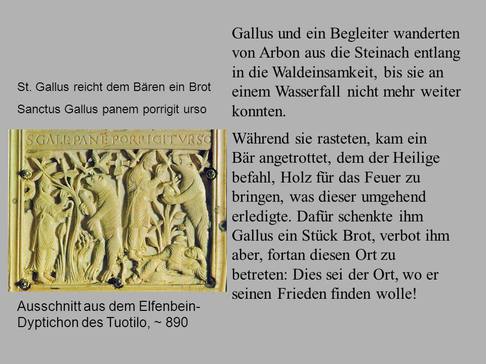 Gallus Bär Ausschnitt aus dem Elfenbein-Dyptichon des Tuotilo, ~ 890.