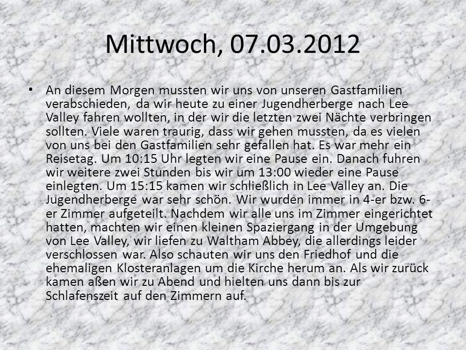 Mittwoch, 07.03.2012
