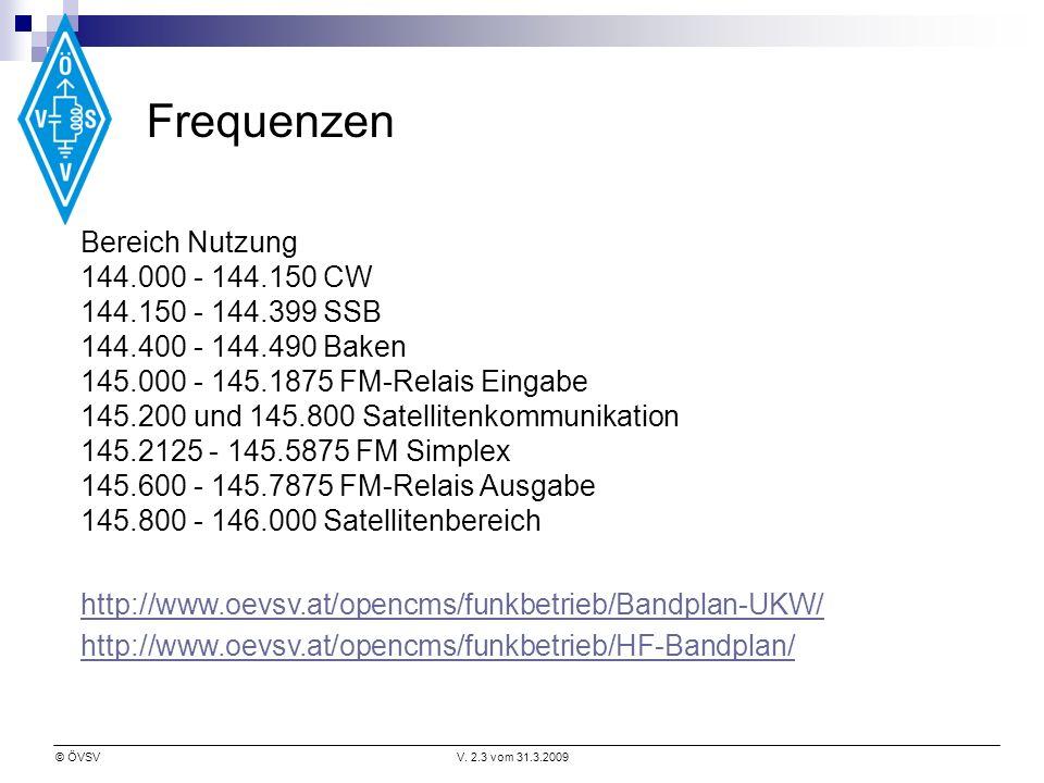 Frequenzen Bereich Nutzung 144.000 - 144.150 CW 144.150 - 144.399 SSB