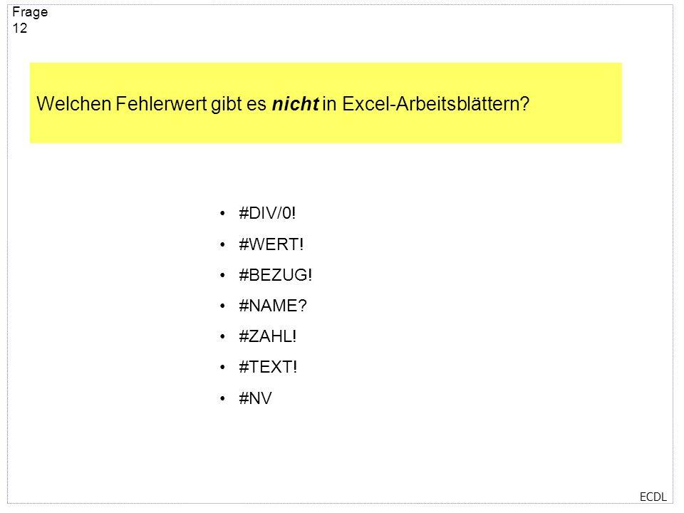 Welchen Fehlerwert gibt es nicht in Excel-Arbeitsblättern