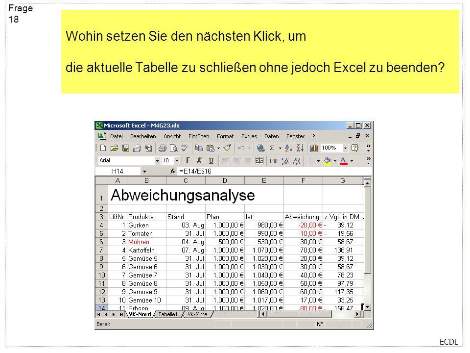 Wohin setzen Sie den nächsten Klick, um die aktuelle Tabelle zu schließen ohne jedoch Excel zu beenden