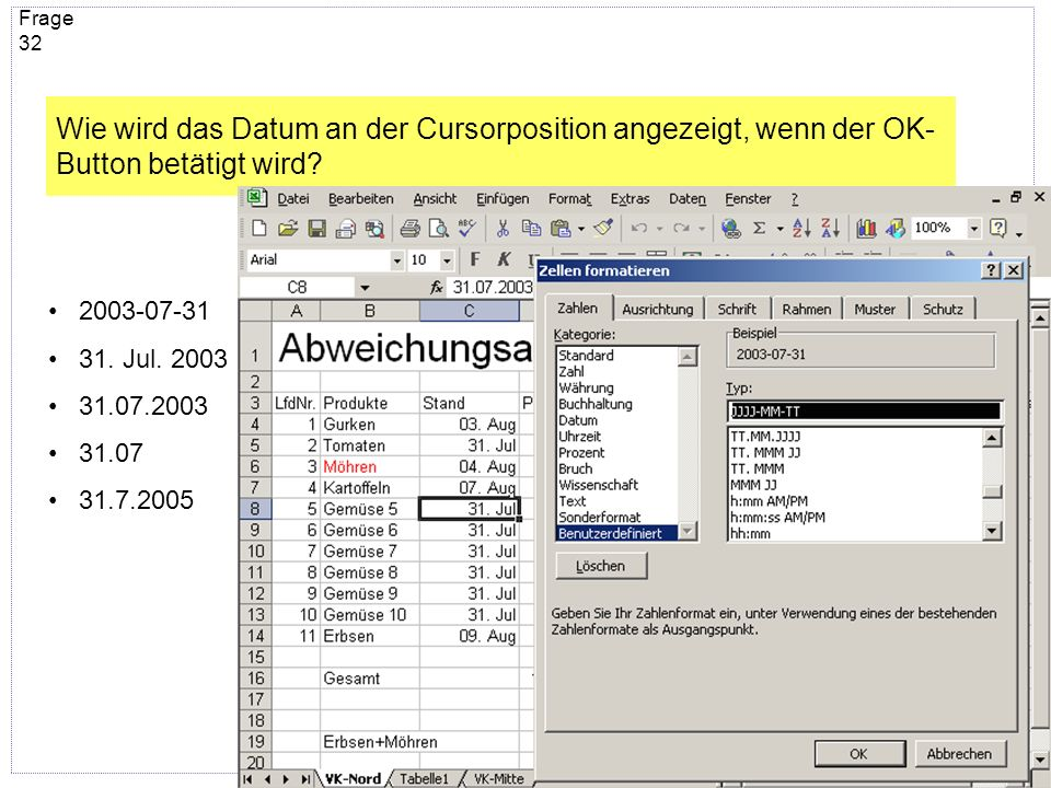 Wie wird das Datum an der Cursorposition angezeigt, wenn der OK-Button betätigt wird