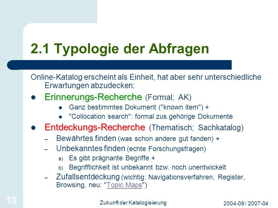 2.1 Typologie der Abfragen