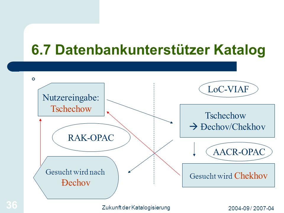 6.7 Datenbankunterstützer Katalog