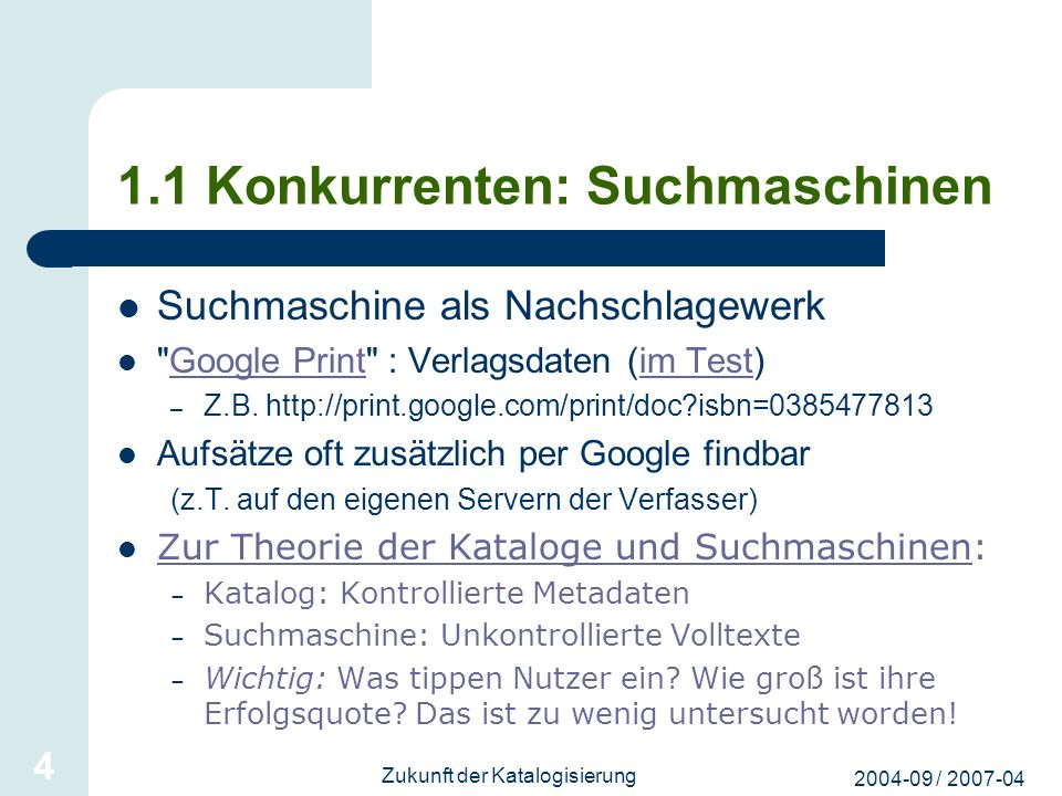 1.1 Konkurrenten: Suchmaschinen