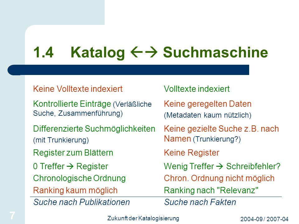 1.4 Katalog  Suchmaschine