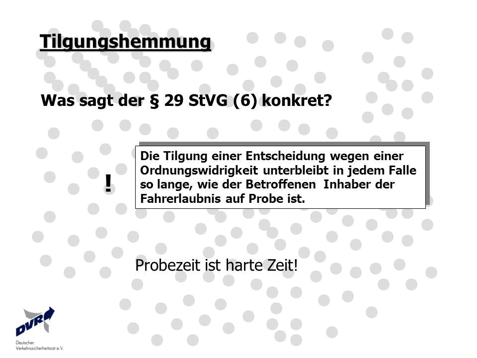 ! Tilgungshemmung Was sagt der § 29 StVG (6) konkret