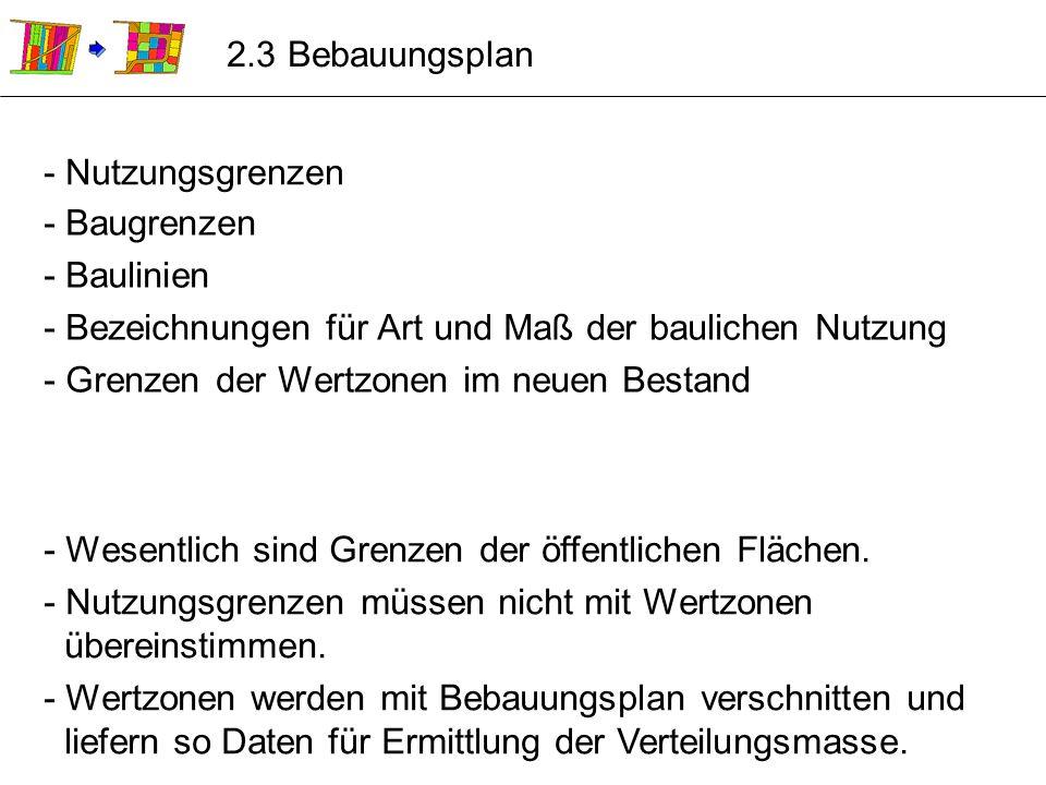 2.3 Bebauungsplan - Nutzungsgrenzen. - Baugrenzen. - Baulinien. - Bezeichnungen für Art und Maß der baulichen Nutzung.