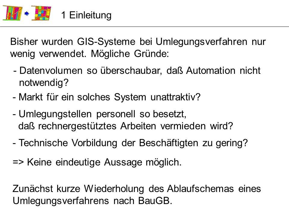 1 Einleitung Bisher wurden GIS-Systeme bei Umlegungsverfahren nur wenig verwendet. Mögliche Gründe:
