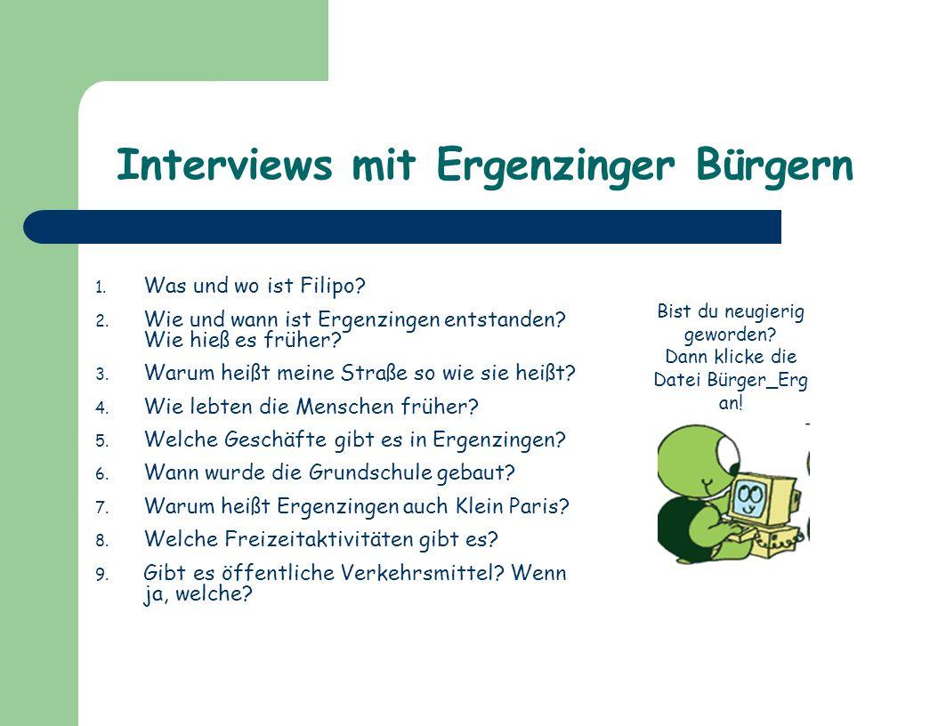Interviews mit Ergenzinger Bürgern