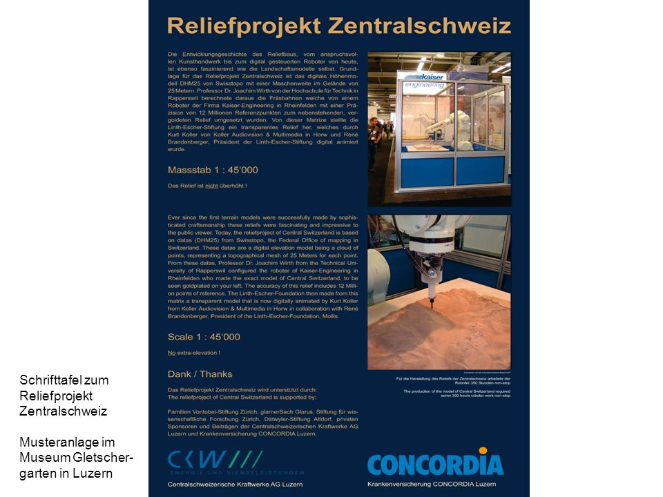 Schrifttafel zum Reliefprojekt Zentralschweiz Musteranlage im Museum Gletscher- garten in Luzern