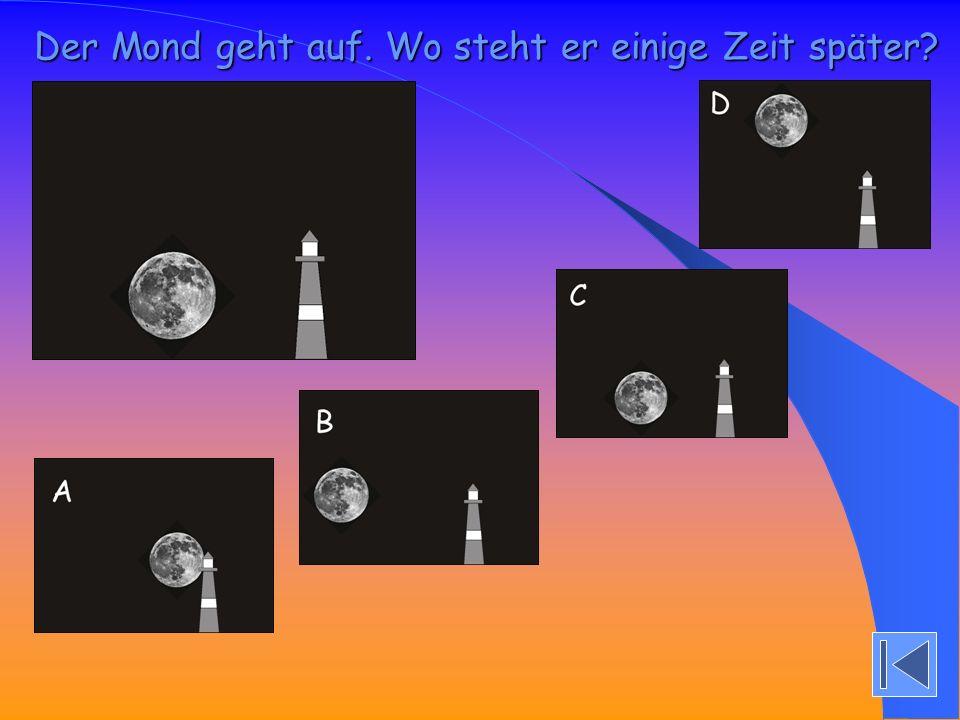 Der Mond geht auf. Wo steht er einige Zeit später