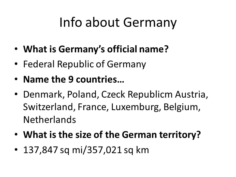 Info about Germany What is Germany's official name
