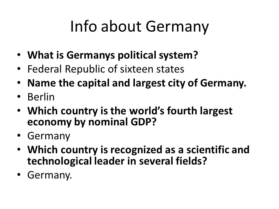 Info about Germany What is Germanys political system