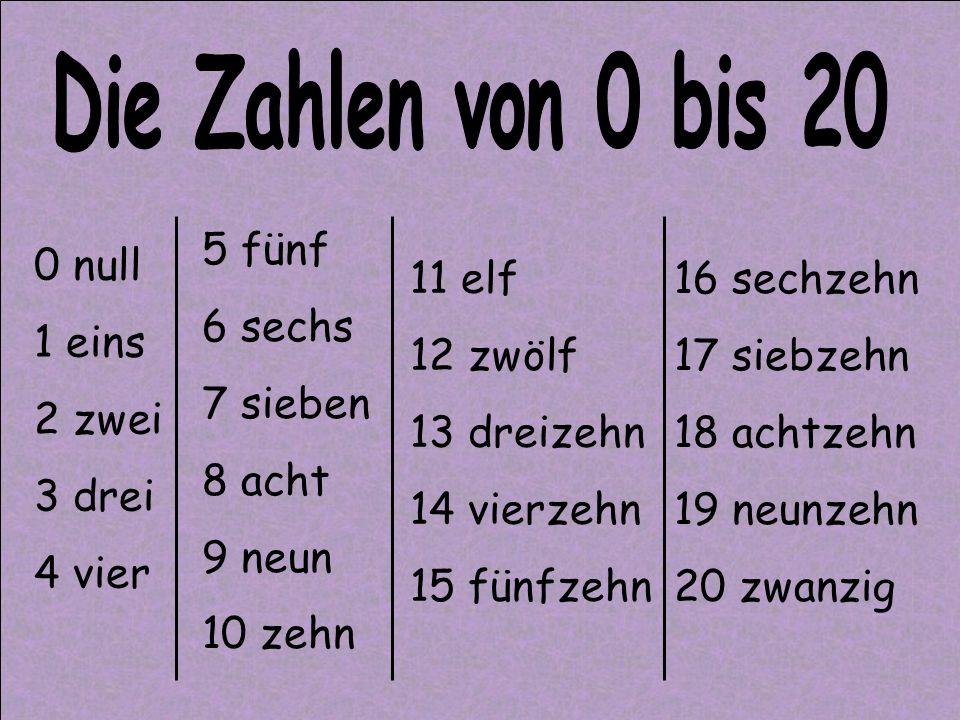 Die Zahlen von 0 bis 20 5 fünf 6 sechs 7 sieben 8 acht 9 neun 10 zehn