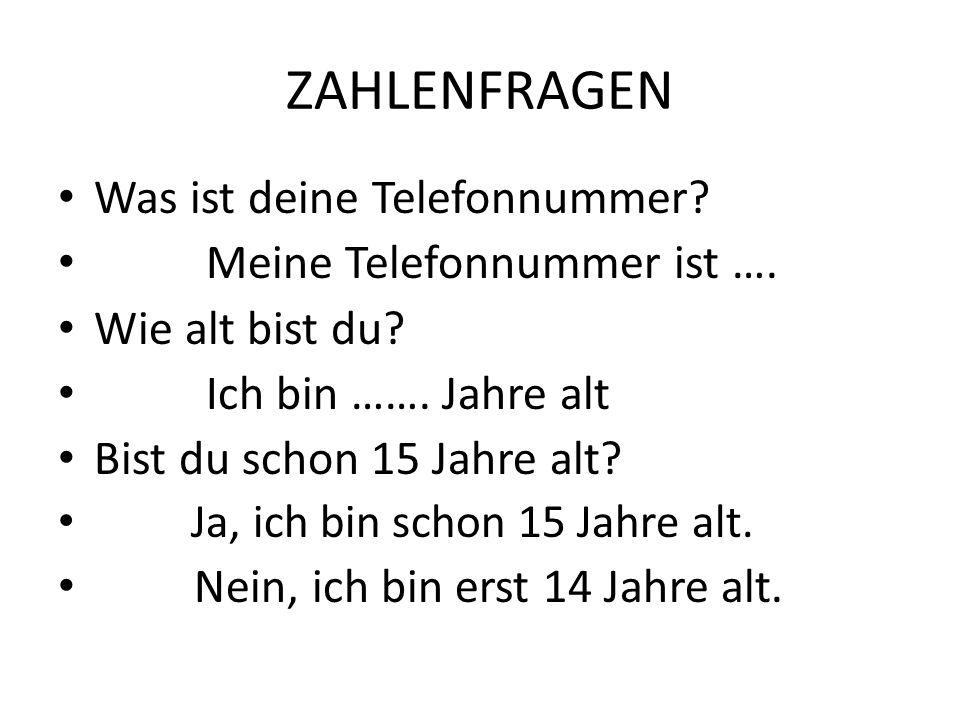 ZAHLENFRAGEN Was ist deine Telefonnummer Meine Telefonnummer ist ….