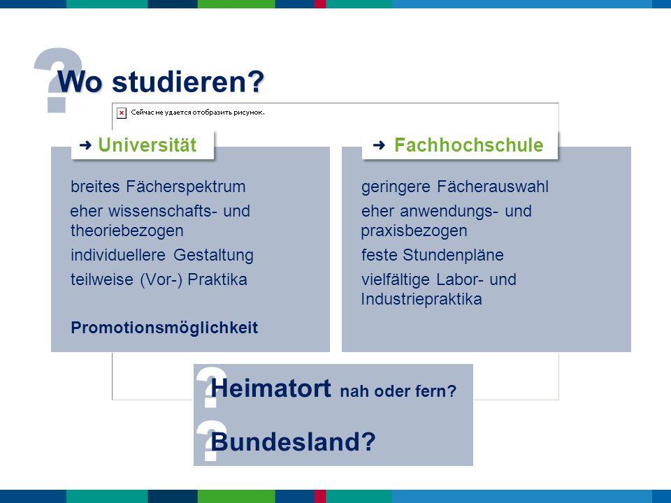 Wo studieren Heimatort nah oder fern Bundesland Universität