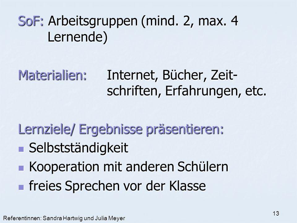 SoF: Arbeitsgruppen (mind. 2, max. 4 Lernende)