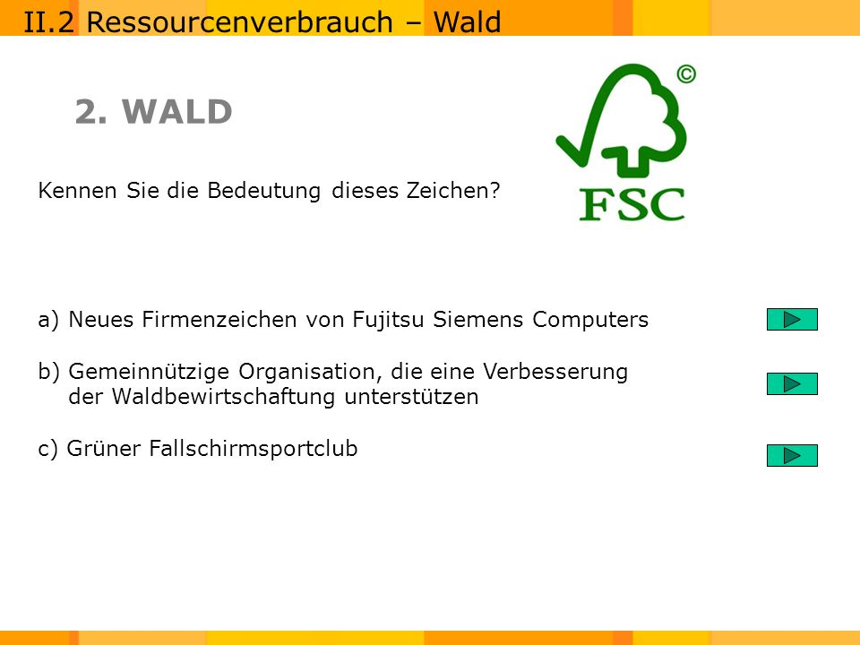 2. WALD II.2 Ressourcenverbrauch – Wald