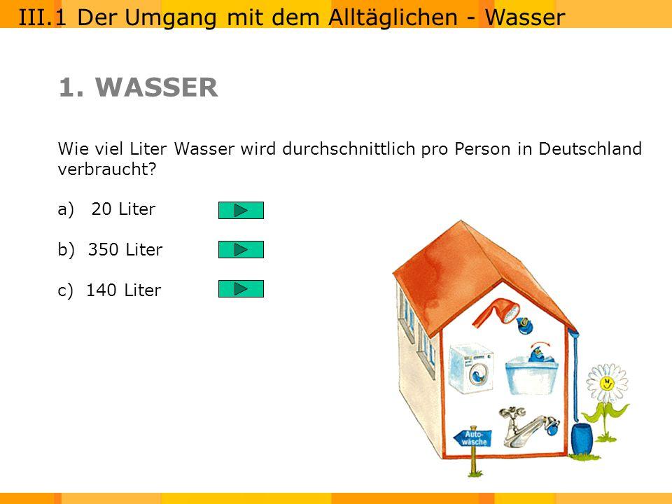 1. WASSER III.1 Der Umgang mit dem Alltäglichen - Wasser