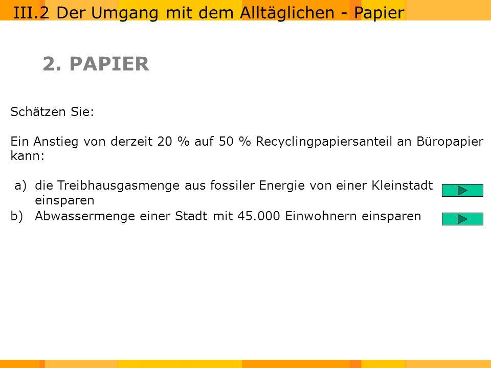 2. PAPIER III.2 Der Umgang mit dem Alltäglichen - Papier Schätzen Sie: