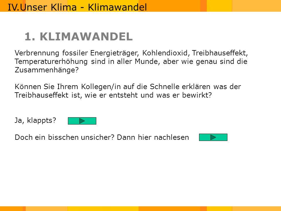 1. KLIMAWANDEL IV.Unser Klima - Klimawandel