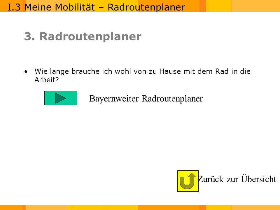 3. Radroutenplaner I.3 Meine Mobilität – Radroutenplaner